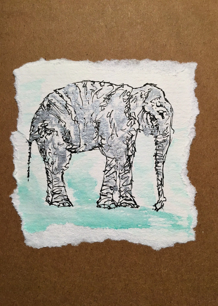 Hand painted greeting card - Elephant with Silver - eDgE dEsiGn London
