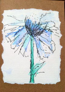 Handpainted Watercolour Greeting Card - Large Blue Abstract Flower Design - eDgE dEsiGn London
