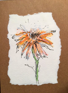 Handpainted Watercolour Greeting Card - Orange Abstract Flower with Silver Design - eDgE dEsiGn London