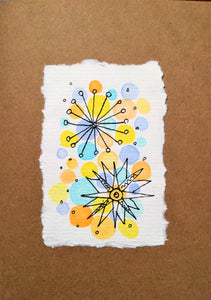 Handpainted Watercolour Greeting Card - Abstract Ink Star/Circle Design - eDgE dEsiGn London