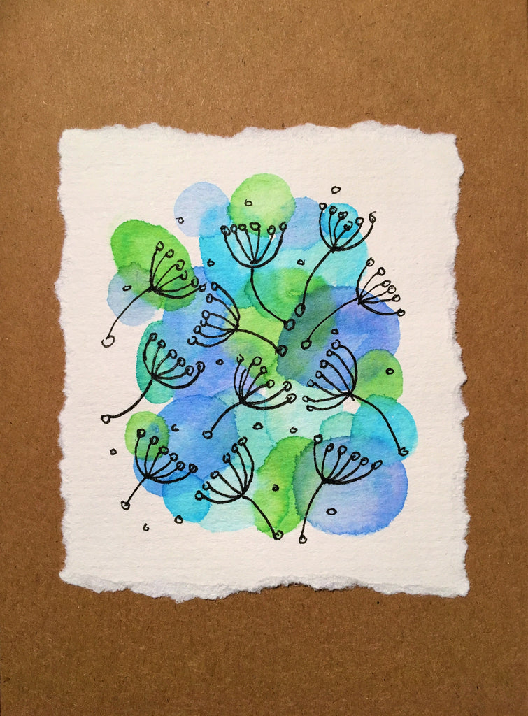 Handpainted Watercolour Greeting Card - Abstract Ink Flower/Circle Design - eDgE dEsiGn London