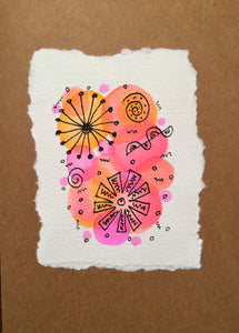 Handpainted Watercolour Greeting Card - Abstract Ink Design Pink/Orange Circles - eDgE dEsiGn London