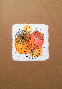 Handpainted Watercolour Greeting Card - Abstract Ink Design Red/Orange Circles - eDgE dEsiGn London
