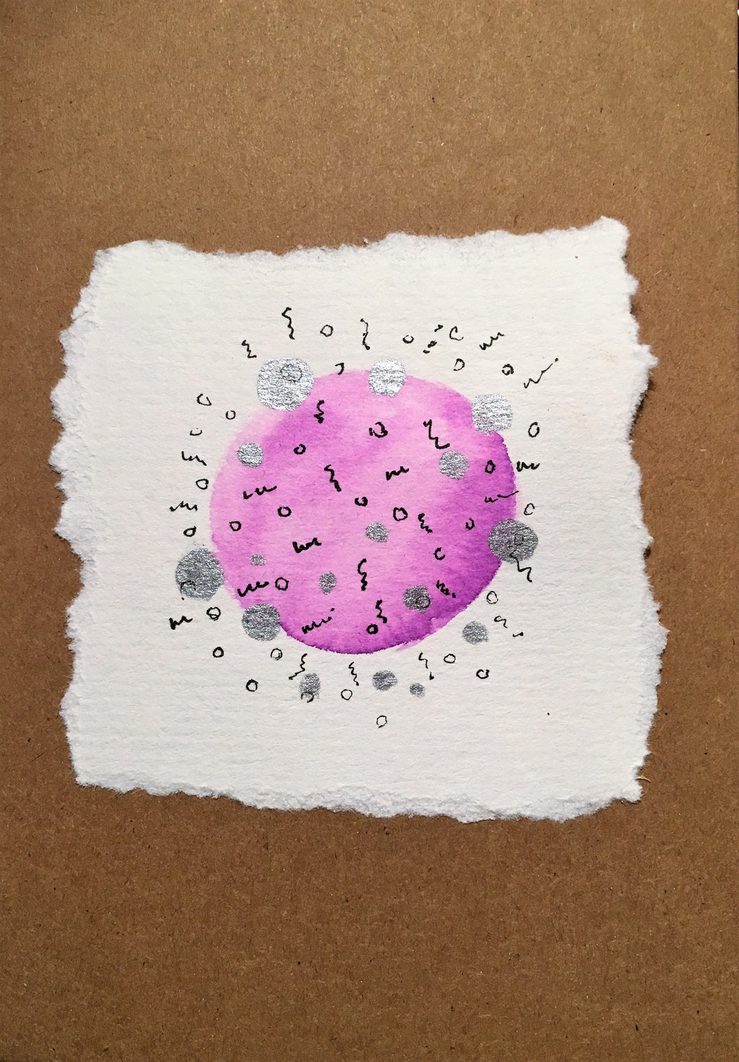 Handpainted Greeting Card - Purple and Silver Circle with Ink Detail - eDgE dEsiGn London