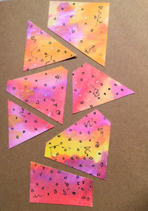 Handpainted Watercolour Greeting Card - Abstract Design on Pink/Red/Purple/Yellow with Silver detail - eDgE dEsiGn London