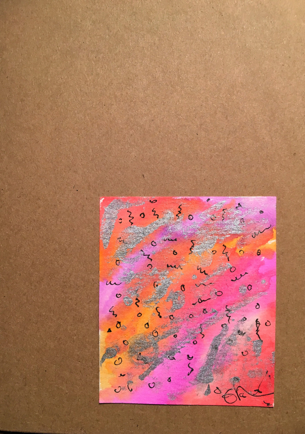 Handpainted Watercolour Greeting Card - Abstract Ink Design with Silver on Pink/Orange/Red - eDgE dEsiGn London