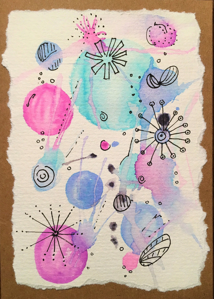 Handpainted Watercolour Greeting Card - Abstract Ink Design Pink/Purple/Turquoise Splatter - eDgE dEsiGn London