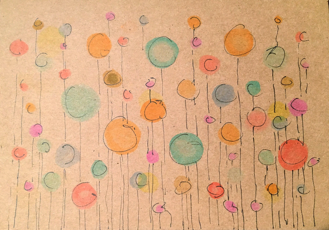 Handpainted Watercolour Greeting Card - Bubbles in Strings - eDgE dEsiGn London