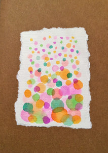 Handpainted Watercolour Greeting Card - Abstract Bubbles Green/Orange/Pink/Purple - eDgE dEsiGn London