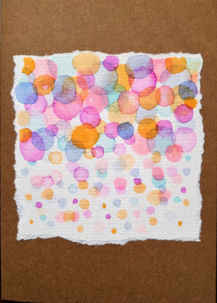 Handpainted Watercolour Greeting Card - Abstract Bubbles Blue/Pink/Purple/Turquoise/Orange - eDgE dEsiGn London