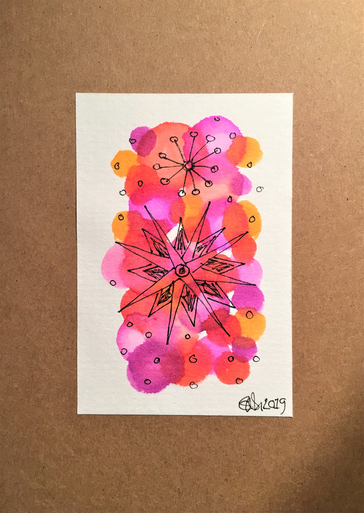 Handpainted Watercolour Greeting Card - Abstract Ink Star/Circle Design Pink/Orange - eDgE dEsiGn London