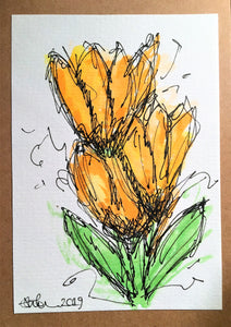 Handpainted Watercolour Greeting Card - Yellow/Orange Abstract Flowers - eDgE dEsiGn London