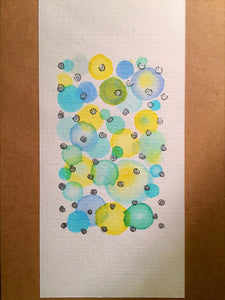 Handpainted Watercolour Greeting Card - Abstract Bubbles Blue/Yellow/Green/Silver and Ink - eDgE dEsiGn London