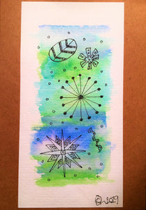 Handpainted Watercolour Greeting Card - Abstract Ink Star/Circle Design - Blue/Green - eDgE dEsiGn London