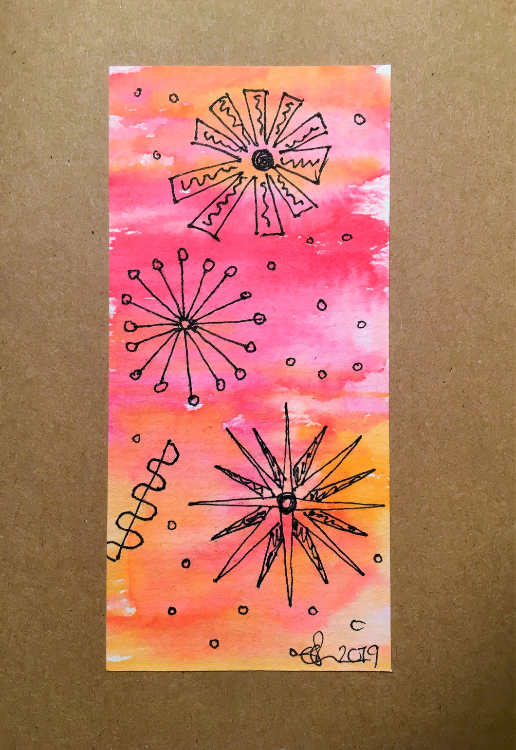 Handpainted Watercolour Greeting Card - Abstract Ink Star/Circle Design - Pink/Orange/Red - eDgE dEsiGn London