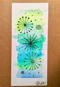 Handpainted Watercolour Greeting Card - Abstract Ink Star/Circle Design - Turquiose/Blue/Green - eDgE dEsiGn London