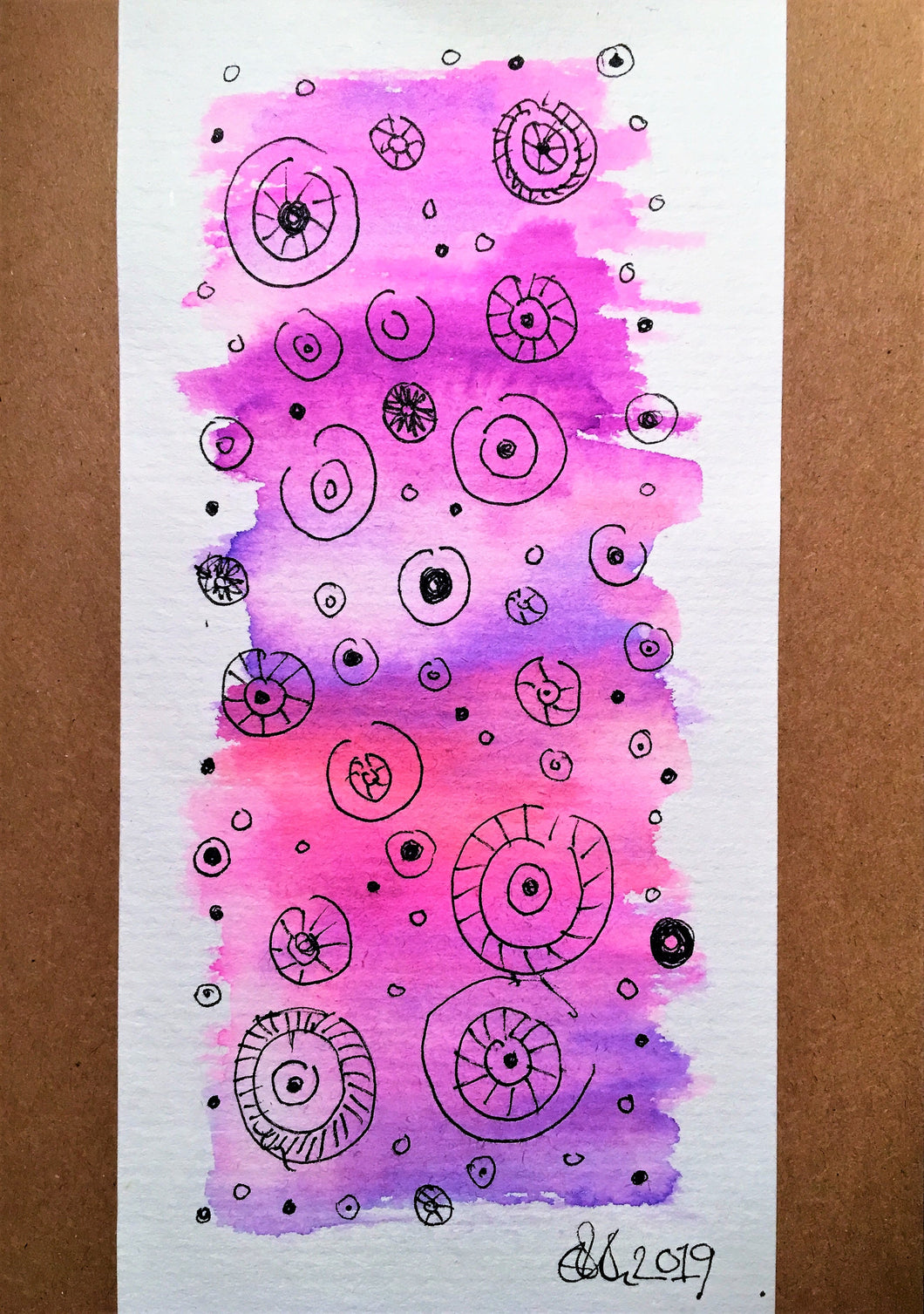 Handpainted Watercolour Greeting Card - Abstract Pink/Purple/Lilac with Ink Circle Design - eDgE dEsiGn London