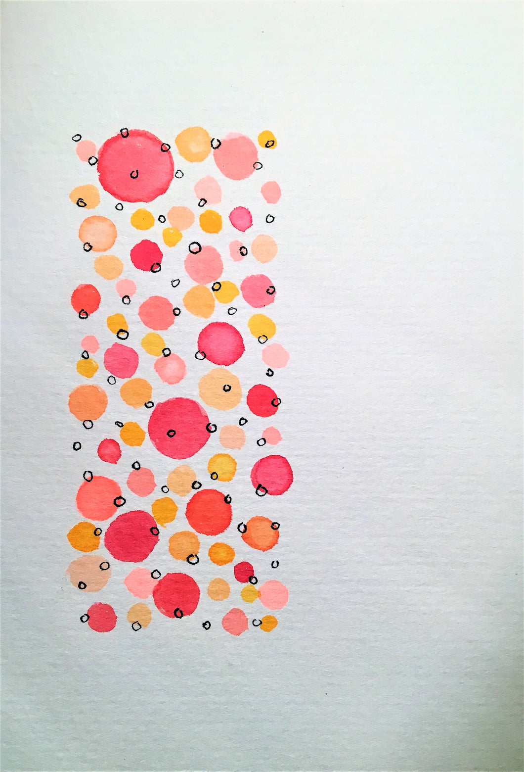 Handpainted Watercolour Greeting Card - Abstract Orange/Red and Ink Circle Design - eDgE dEsiGn London