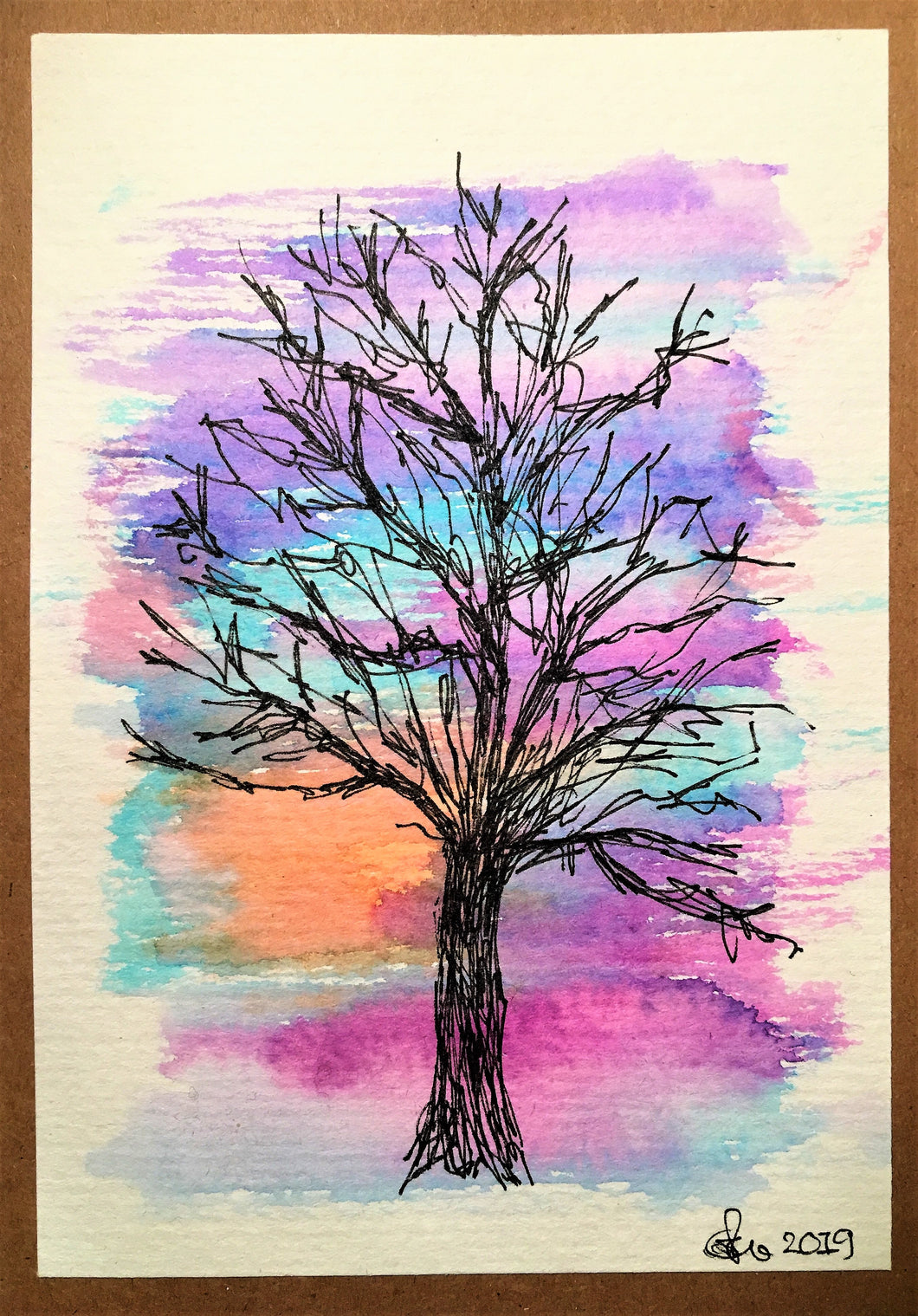 Handpainted Watercolour Greeting Card - Abstract Tree at Sunset 1 - eDgE dEsiGn London
