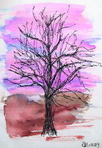 Handpainted Watercolour Greeting Card - Abstract Tree at Sunset 2 - eDgE dEsiGn London