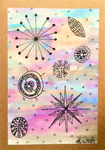 Handpainted Watercolour Greeting Card - Abstract Ink Star/Circle Design - Pink/Turquoise/Blue/Orange - eDgE dEsiGn London
