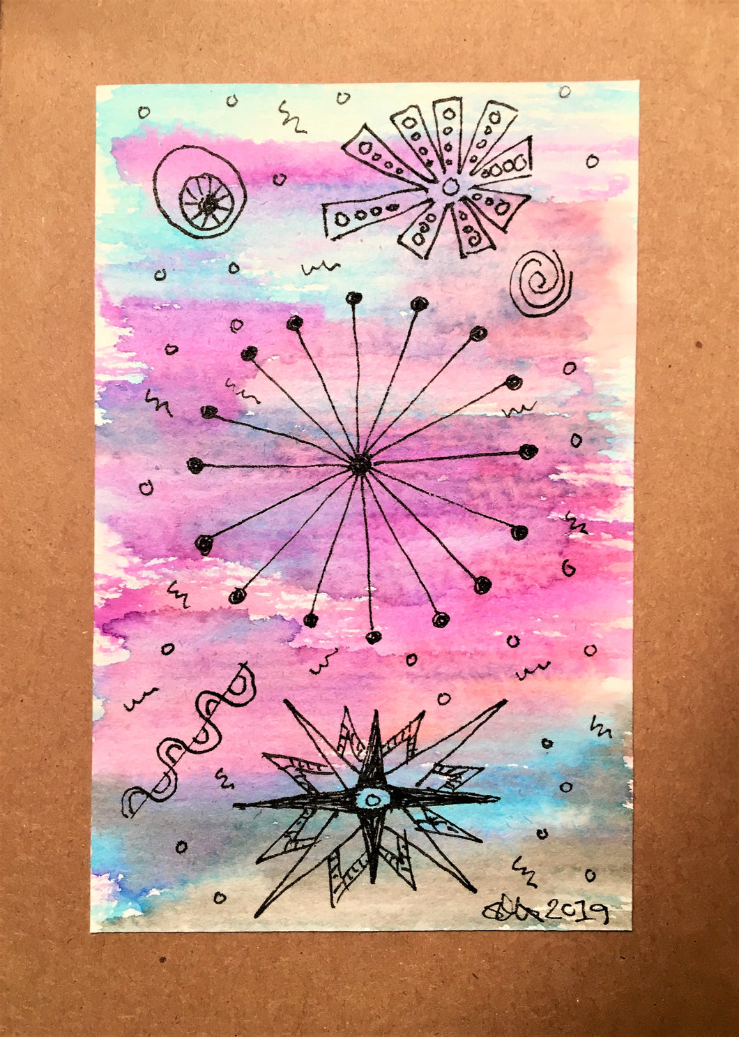 Handpainted Watercolour Greeting Card - Abstract Ink Star/Circle Design - Pink/Turquiose/Blue/Purple - eDgE dEsiGn London