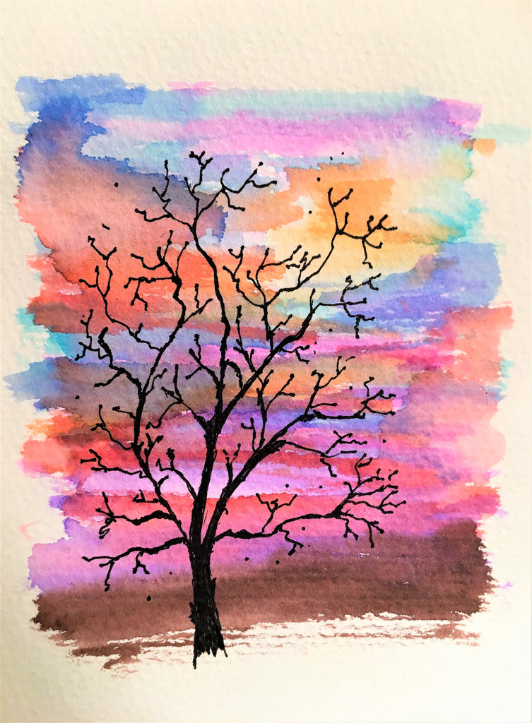 Handpainted Watercolour Greeting Card - Winter Tree at Sunset Watercolour - eDgE dEsiGn London