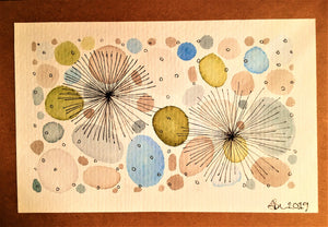 Handpainted Watercolour Greeting Card - Abstract Ink Star/Circle Design - Blue/Green/Grey - eDgE dEsiGn London