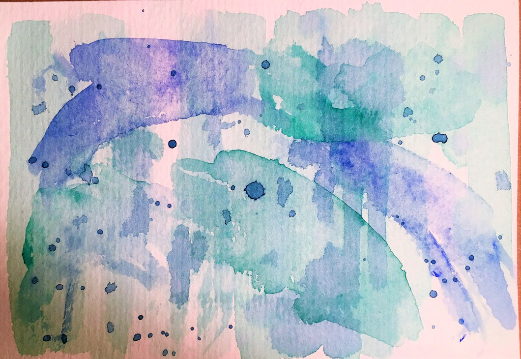 Handpainted Watercolour Greeting Card - Abstract Blue/Green - Dolphin - eDgE dEsiGn London