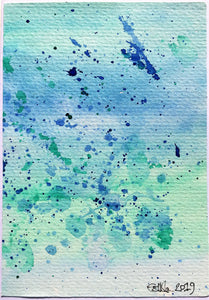 Handpainted Watercolour Greeting Card - Blue and Green Splatter Design 1 - eDgE dEsiGn London