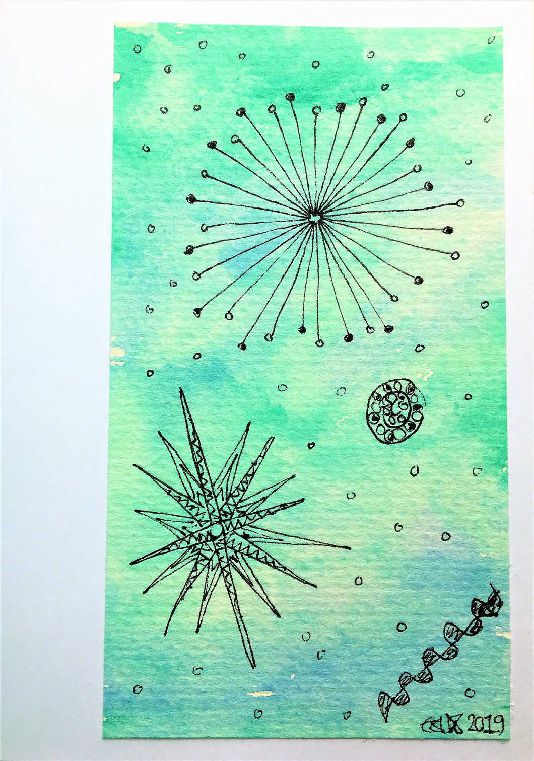 Handpainted Watercolour Greeting Card - Green/Blue with Stars and Circles Design - eDgE dEsiGn London