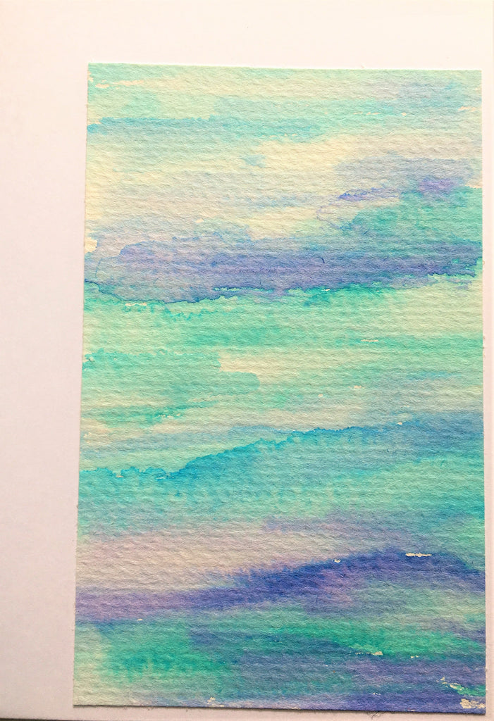 Handpainted Watercolour Greeting Card - Blue/Green/Turquoise Blended Stripe Design - eDgE dEsiGn London