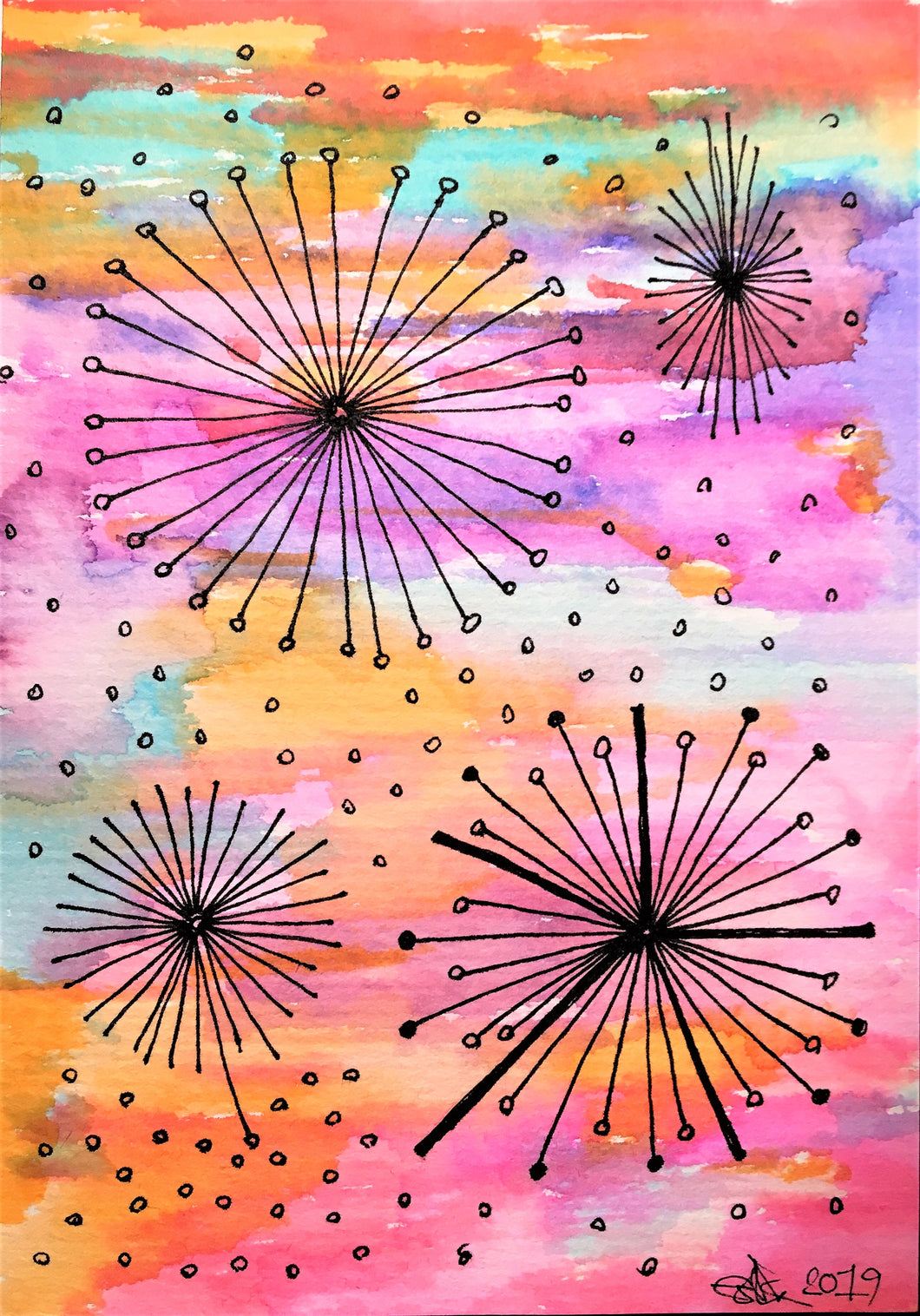 Handpainted Watercolour Greeting Card - Abstract Multicolour Circle/Star Design - eDgE dEsiGn London