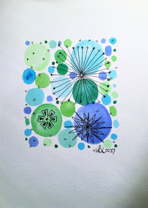 Handpainted Watercolour Greeting Card - Blue/Green with Circle/Star Design - eDgE dEsiGn London