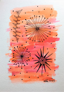 Handpainted Watercolour Greeting Card - Abstract Red/Orange/Pink with Circle/Star Design - eDgE dEsiGn London
