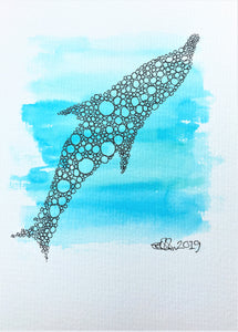 Handpainted Watercolour Greeting Card - Blue abstract circle dolphin design - eDgE dEsiGn London