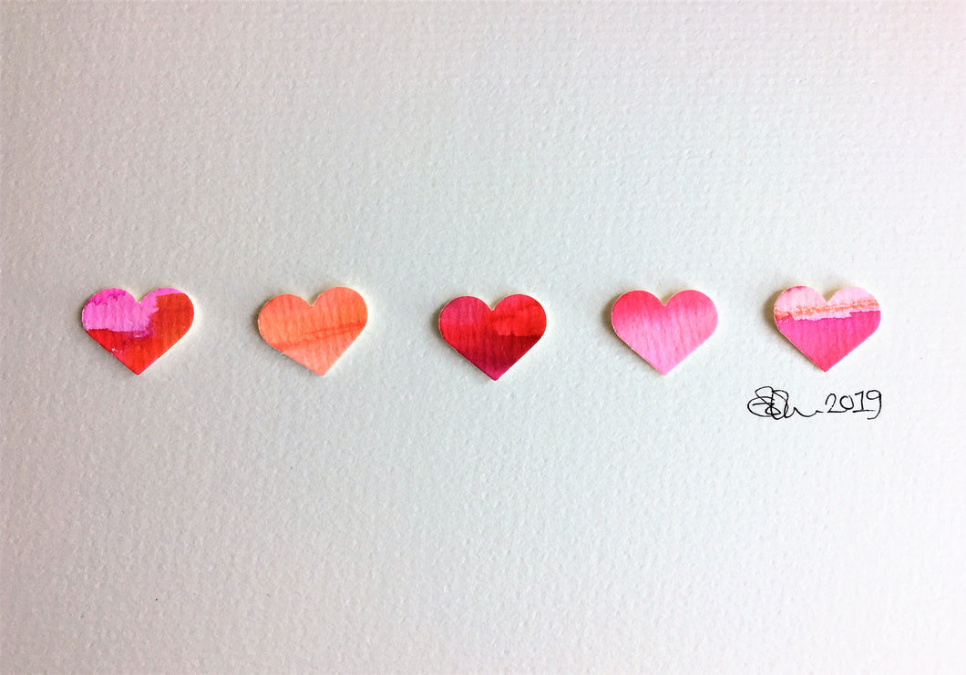Handpainted Watercolour Greeting Card - Pink/Red/Orange Hearts in a row design - eDgE dEsiGn London