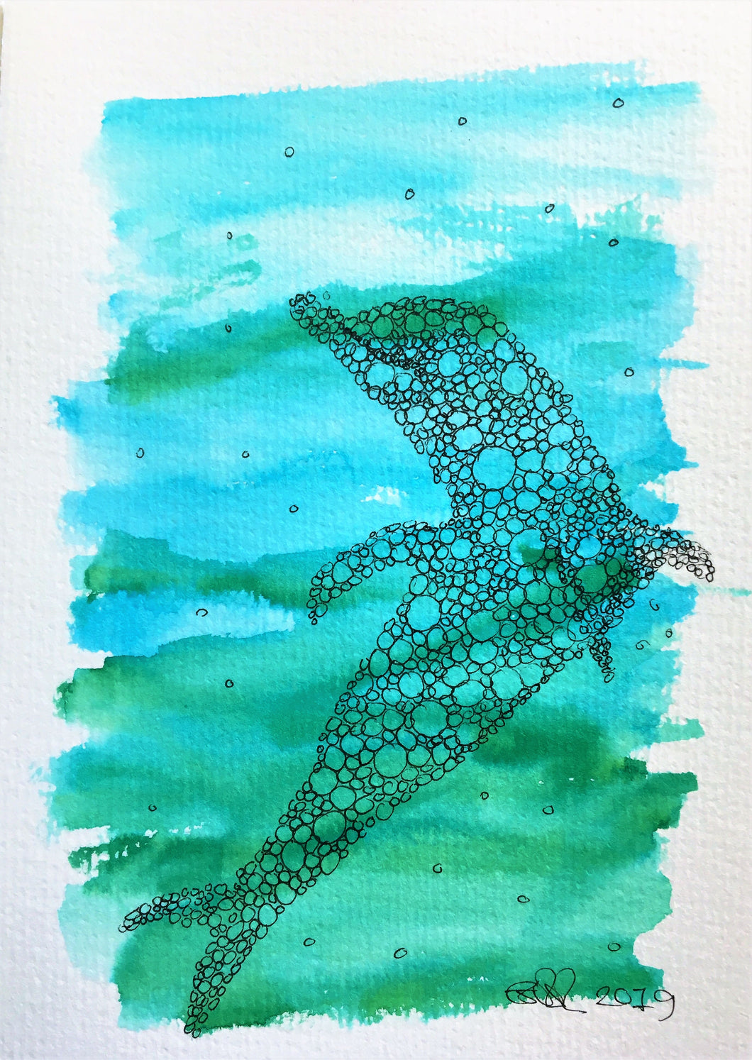 Handpainted Watercolour Greeting Card - Blue/Green with abstract circle dolphin design - eDgE dEsiGn London