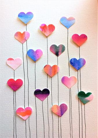 Handpainted Watercolour Greeting Card - Multicoloured Heart Flowers with Stem Design - eDgE dEsiGn London