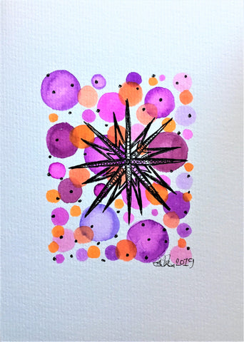 Handpainted Watercolour Greeting Card - Purple/Orange/Pink Circles with Star Design - eDgE dEsiGn London