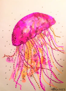 Handpainted Watercolour Greeting Card - Pink/Orange Jellyfish - eDgE dEsiGn London