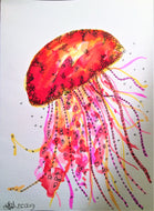 Handpainted Watercolour Greeting Card - Red/Yellow/Orange Jellyfish - eDgE dEsiGn London