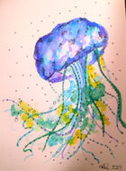 Handpainted Watercolour Greeting Card - Blue/Green/Yellow Jellyfish - eDgE dEsiGn London