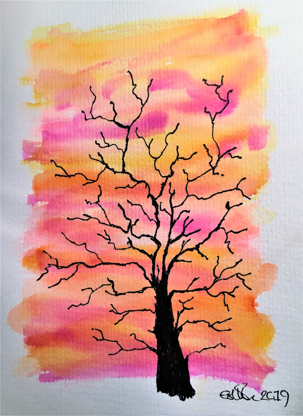 Handpainted Watercolour Greeting Card - Winter Tree at Sunset Pink/Orange - eDgE dEsiGn London