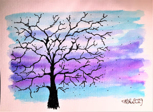 Handpainted Watercolour Greeting Card - Winter Tree Blue/Lilac Sky - eDgE dEsiGn London