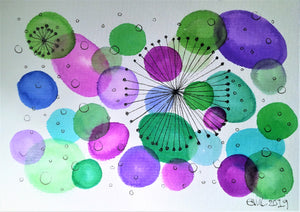 Handpainted Watercolour Greeting Card - Abstract Green/Purple Star/Circle Design - eDgE dEsiGn London
