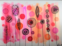Handpainted Watercolour Greeting Card - Abstract Flowers Pink/Orange with circle design - eDgE dEsiGn London