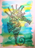 Handpainted Watercolour Greeting Card - Yellow/Green/Blue Seahorse Design