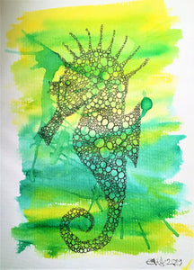 Handpainted Watercolour Greeting Card - Yellow/Green abstract Seahorse Design - eDgE dEsiGn London