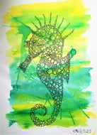 Handpainted Watercolour Greeting Card - Yellow/Green abstract Seahorse Design